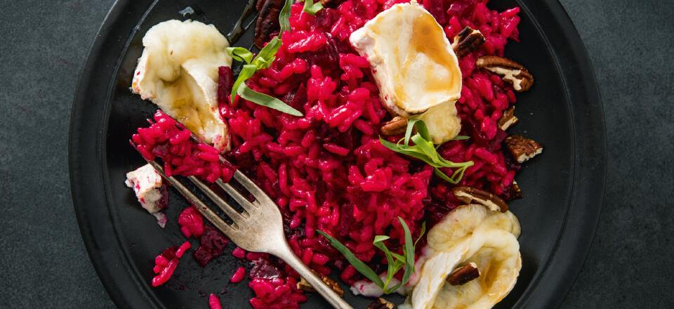 Risotto med rødbede og gedeost